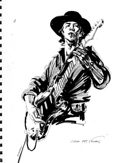 Sketch of Stevie Ray Vaughan  *Watch/listen