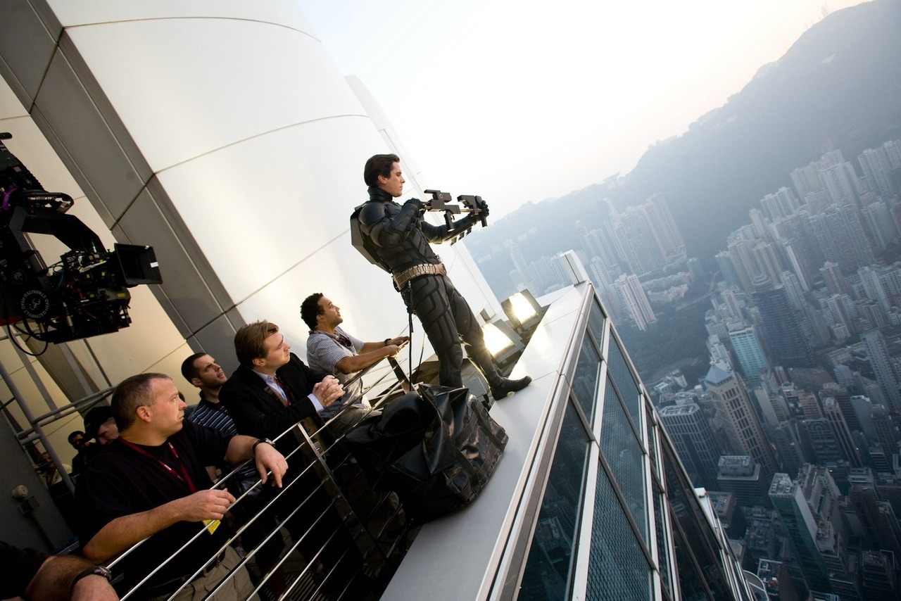 suicideblonde:  Christian Bale at Hong Kong's second tallest building, the IFC 2, during the filming of The Dark Knight