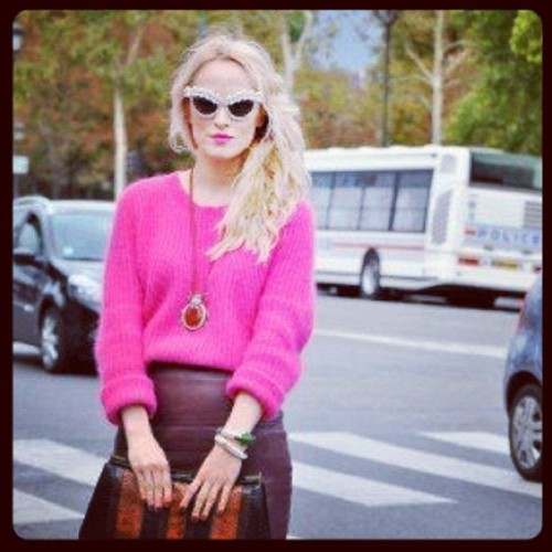 Looove Alina's look from @absolutelyfabulousmagazine during #PFW Embellished sunglasses available at s*uce #embellished #sunglasses #streetstyle #paris @refinery29  (Taken with Instagram)