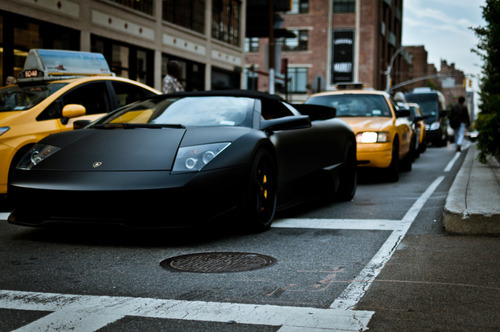 Lamborghini Murcielago Roadster in matte black on the streets of New York.