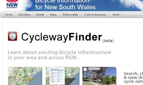 For riders in NSW, Australia, the beta version of the new Cycleway Finder has finally launched.    The Cycleway Finder is an interactive map that displays identified existing bicycle infrastructure including on-road, off-road environments and highway shoulder areas and allows you to create the map you need. Cycleway data is continuously being added to the map database on a monthly basis to provide the most up to information. As part of the ongoing development of Cycleway Finder (beta) the RMS are asking cyclists to give them feedback on any missing items in their local area . All other feedback is welcome, as they work to deliver state-of-the-art bicycling infrastructure across NSW.