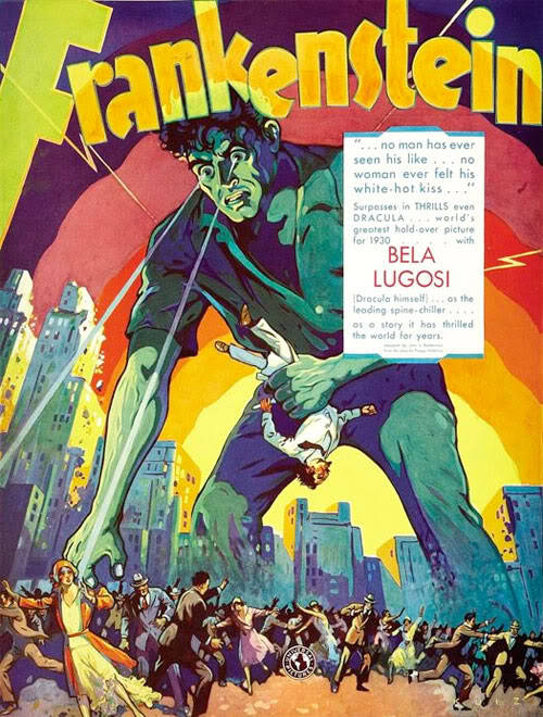 Early promotional art for Frankenstein (1931), via Frankensteinia.