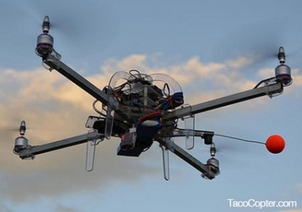 TacoCopter and the Imminent Age of Drones - Dyland Hendricks via Institute For The Future We're at the ground floor of the Drone Age. That was the message from Star Simpson, who stopped by the Institute yesterday to talk about TacoCopter, her in-joke turned viral juggernaut. The idea behind TacoCopter is relatively simple, but irresistibly futuristic: order tacos from your smartphone, and your friendly neighborhood unmanned drone will deliver them to your exact GPS coordinates within minutes. Star created tacocopter.com in 2011 as a joke to a friend, then promptly moved on to other projects. It wasn't until March of 2012 that the popular blog Hacker News discovered her site, at which point every 21st century media outlet jumped onto the story of the business that would change restaurants forever. It didn't seem to matter whether TacoCopter was real or not - it was an idea whose time had come.  via futuramb: