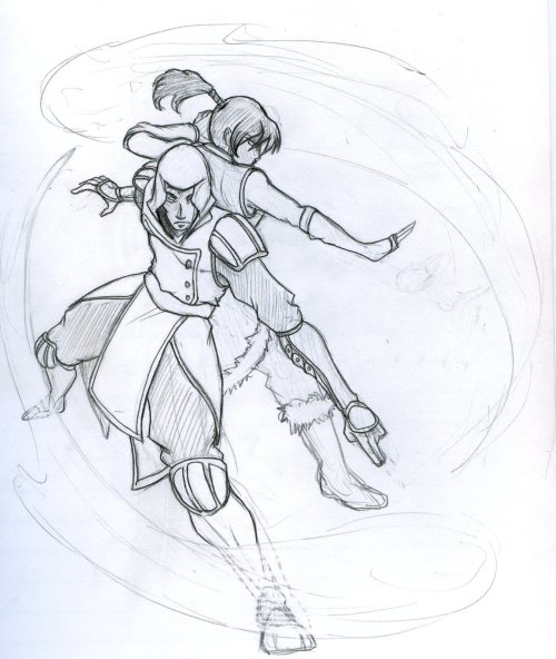 grieviouslyratedm:  Amon and Korra, kicking the shit out of Teamwork. Based off a 2AM idea I had once about Noatak/Amon having a ton of AntiHero potential.  Being one of the most powerful waterbenders known, I thought it would be pretty awesome to see him and Korra breaking all the rules and kicking ass together. Someday Dani and I will take this picture!