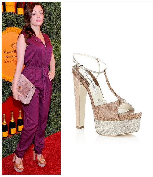 Rose McGowan attended the 2012 Veuve Clicquot Polo Classic at Will Rogers State Historic Park on Saturday in Pacific Palisades, California wearing a 3.1 Phillip Lim jumpsuit, Brian Atwood 'Bellini' bi-colour snakeskin platforms and an oversized Bruno Magli clutch