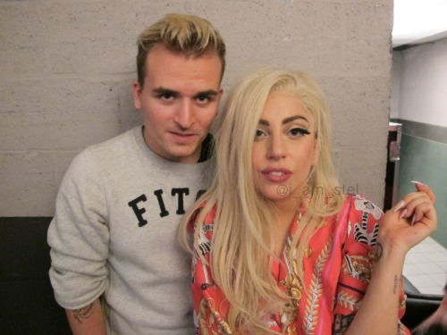 gaga and i backstage in anwterpen! so happy