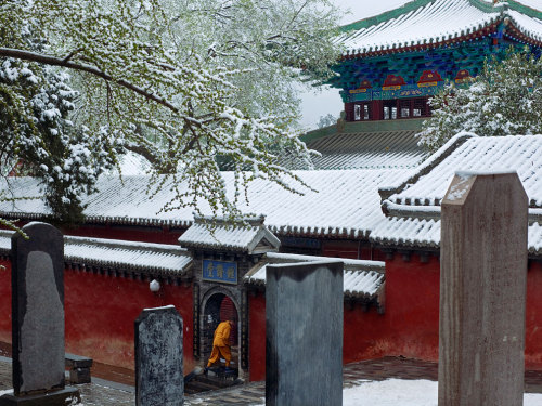 Monk, China Photograph by Fritz Hoffmann A monk seeks shelter from a snow shower in the Shaolin complex, lavishly rebuilt in recent years. Stone tablets throughout the grounds testify to the generosity of patrons from all over the world. (via National Geographic Photo of the Day)