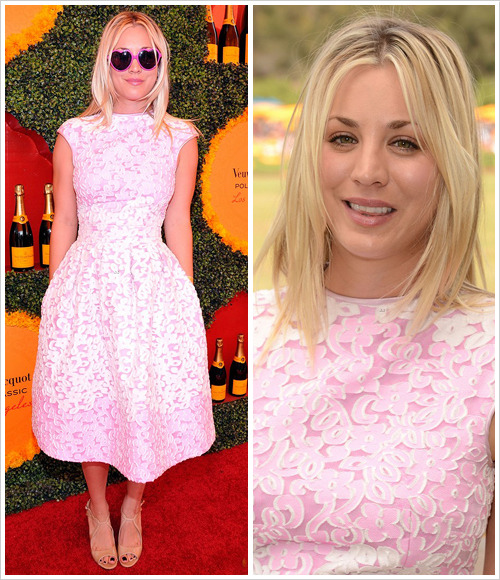 Kaley Cuoco attended the 2012 Veuve Clicquot Polo Classic at Will Rogers State Historic Park on Saturday in Pacific Palisades, California wearing a Balser Couture dress