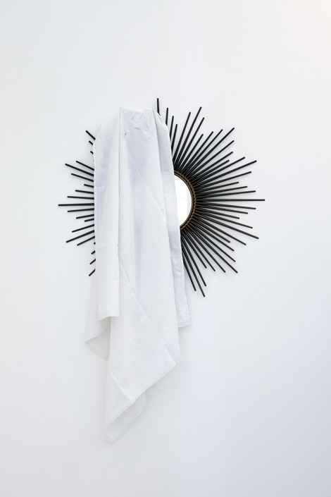 Latifa Echakhch  Fantôme, 2011  Chaty Vallauris mirror and old linen135 x 83 x 15 cm © Latifa Echakhch