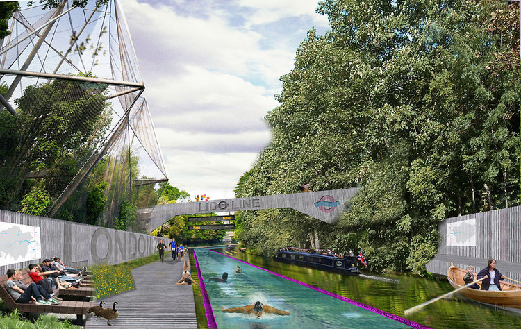 "emilyluger:  fastcompany:  Will London become the first city with commuter swim lanes?  Woah!  So many questions about this.  ""The LidoLine would form a new network for London,"" the designers write. ""Rather than blindly multiplying underused, functionless ""green space."""