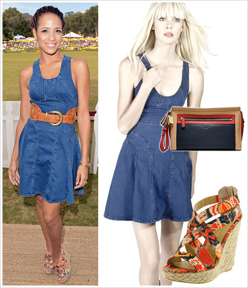 Dania Ramirez attended the 2012 Veuve Clicquot Polo Classic at Will Rogers State Historic Park on Saturday in Pacific Palisades, California wearing a Faith Connexion 'Emma' indigo patineuse dress from the Spring 2012 collection, Chinese Laundry 'Milkshake' platform sandals in Orange ($29.99-$79.95 depending on size) and a Coach 'Legacy' colorblock large clutch (silver/black multi version, $168)
