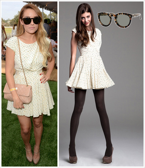 Lauren Conrad attended the 2012 Veuve Clicquot Polo Classic at Will Rogers State Historic Park on Saturday in Pacific Palisades, California wearing a Paper Crown Fall 2012 'Madame' dress in Rosebud Print, tortoiseshell Celine 41801 sunglasses (Havana Honey version, $261) and a Chanel classic bag
