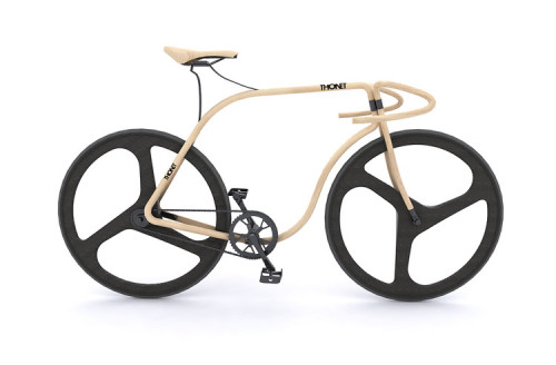A $70.000 wooden bike crafted like a century old chair. The THONET bike mixes steam-bent wood with carbon fibre wheels. A little pricey, but very beautiful.