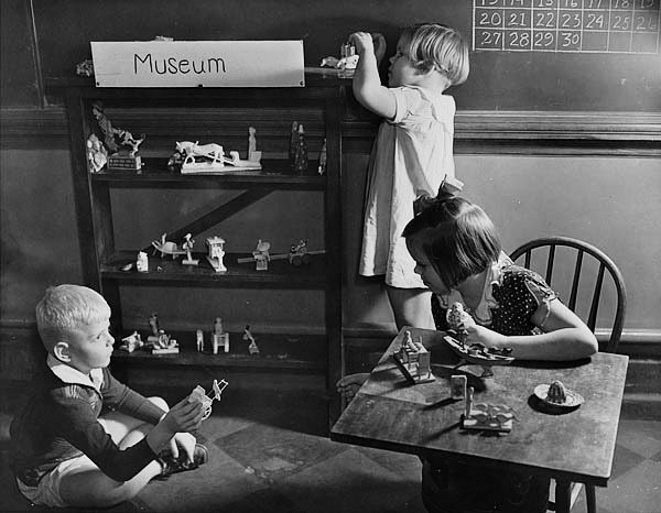 "Kids playing ""museum"" at a school in Atlanta in 1935. Browse and order prints from our collection."