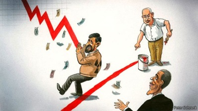 A red line and a reeling rial: sanctions may be taking their toll as Israel's prime minister tries to set a new red line to block Iran's nuclear plans.