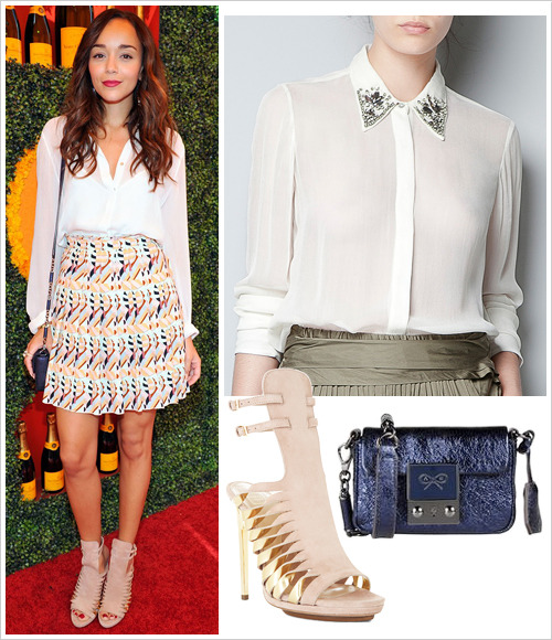 Ashley Madekwe attended the 2012 Veuve Clicquot Polo Classic at Will Rogers State Historic Park on Saturday in Pacific Palisades, California wearing a Zara blouse with appliques around neckline ($79.90), an Etro skirt, Herve Leger 'Abrielle' leather and metal sandals in Nude ($830), a blue Anya Hindmarch 'Tiny Tim' bag (€475) and Asos jewelled earrings