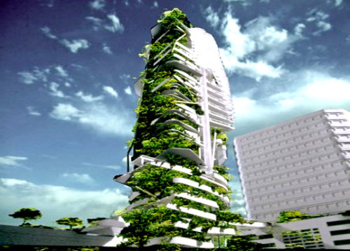 "Singapore's Ecological EDITT Tower ""Currently pending construction in Singapore, the EDITT Tower will be a paragon of 'Ecological Design In The Tropics'. Designed by TR Hamzah & Yeang and sponsored by the National University of Singapore, the 26-story high-rise will boast photovoltaic panels, natural ventilation, and a biogas generation plant all wrapped within an insulating living wall that covers half of its surface area. The verdant skyscraper was designed to increase its location's bio-diversity and rehabilitate the local ecosystem in Singapore's 'zeroculture' metropolis."" via imlovinchina"