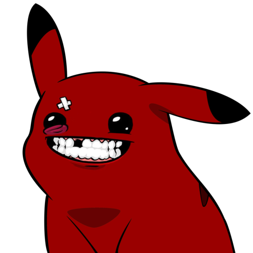 Meatchu Pikachu/Meat Boy Mashup Art by DrPooChew