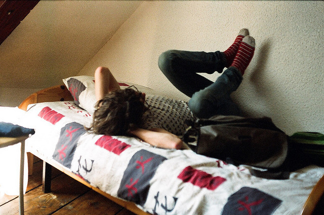 celestial-theory:   Luke, hostel bed by but_those_are on Flickr.