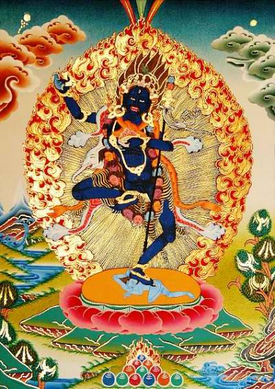 kelledia:   Bhagavani (Krodha Kali, the Fierce Black One),  a wrathful form of Vajravarahi.
