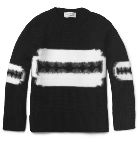 theclassyissue:  YVES SAINT LAURENT RAZOR-PATTERNED WOOL SWEATER