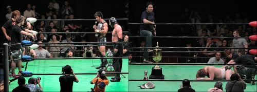"[NOAH News] Pro Wrestling NOAH announced the upcoming GHC title matches for the month of October and early November. Up first will see a #1 contenders match for the GHC Jr. singles belt as Atsushi Aoki and Genba Hirayanagi will face each other on October 12.  NOAH ""Autumn Navig. 2012"", 10/12/2012 [Fri] 18:30 @ Kitazawa Town Hall (-) GHC Junior Heavyweight Contendership Match: Atsushi Aoki [S.A.T.] vs. Genba Hirayanagi [NO MERCY] Then the winner of the conterdership match will match will go on to face All Japan's Shuji Kondo on November 3. NOAH ""2012 Global League War ~ Day 1"", 11/3/2012 [Sat] 12:00 @ Korakuen Hall in Tokyo (-) GHC Junior Heavyweight Championship Match: [25th Champion] Shuji Kondo [AJP] vs. [Challenger] (winner of 10/12 match) ~ 1st Defense. —————————————————————————————- Then to close out the month both the GHC Tag and the GHC Heavyweight belts will be on the line. The GHC Tag belts will be on the line first on October 26 as the new champions of ""NO MERCY"" KENTA & Maybach Taniguchi will be defending against S.A.T.'s Go Shiozaki & Akitoshi Saito. Both Shiozaki and Saito stepped up against the new champions after they won the belts on 10/8, and the match was quickly announced to happen. NOAH ""Autumn Navig. 2012"", 10/26/2012 [Fri] 18:30 @ Niigata City Gymnasium (-) GHC Tag Championship Match: [25th Champions] KENTA & Maybach Taniguchi vs. [Challengers] Go Shiozaki & Akitoshi Saito ~ 1st Defense. Lastly, Morishima will be getting his wish to face ZERO1's Kohei Sato before the GLOBAL LEAGUE tournament starts in Novemeber as the two will face face off on October 27. Kohei has had one thing on his mind since jumping Marufuji a month ago and that is to claim the GHC Heavyweight belt. After the show on 10/8, Kohei pinned Marufuji and set himself up as a potential candidate against the reigning champion Morishima, but Kohei decided to attack the champion's title match against Jun Akiyama. Morishima did not take the attack lightly and said that he wants Kohei before the upcoming GLOBAL LEAGUE, and no less than a day later it has been signed to happen. NOAH ""Autumn Navig. 2012"", 10/27/2012 [Sat] 18:00 @ Korakuen Hall in Tokyo (-) GHC Heavyweight Championship Match: [18th Champion] Takeshi Morishima vs. [Challenger] Kohei Sato (ZERO1) ~ 7th Defense."