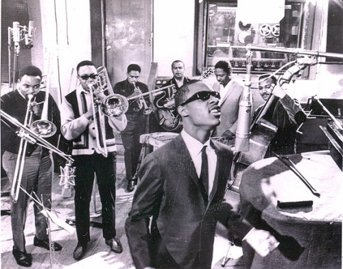 neosoulman:  The Funk Brothers backing Mr. Stevie Wonder in studio.