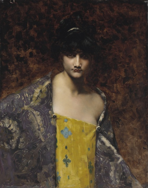 Juana Romani (Italian, 1869-1924)A Dark-Haired Beauty 19th Century European Art