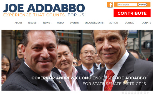 State Senator Joseph Addabbo Jr., wants everyone to see he's been endorsed by Governor Andrew Cuomo. Which makes sense, considering the polls.