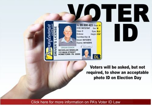 "Graphic on Pennsylvania's voter ID law. Two observations: 1) Asked, but not required. Get the word out to your Pennsylvania people. 2) We're pretty sure this Pa. voter ID campaign wasn't actually started with ""Nicholas Winkler"" in mind. (via Ryan Reilly)"