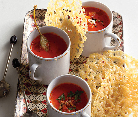 epicurious:  Roasted Red Pepper Soup Shots (Bon Appétit, October 2012)