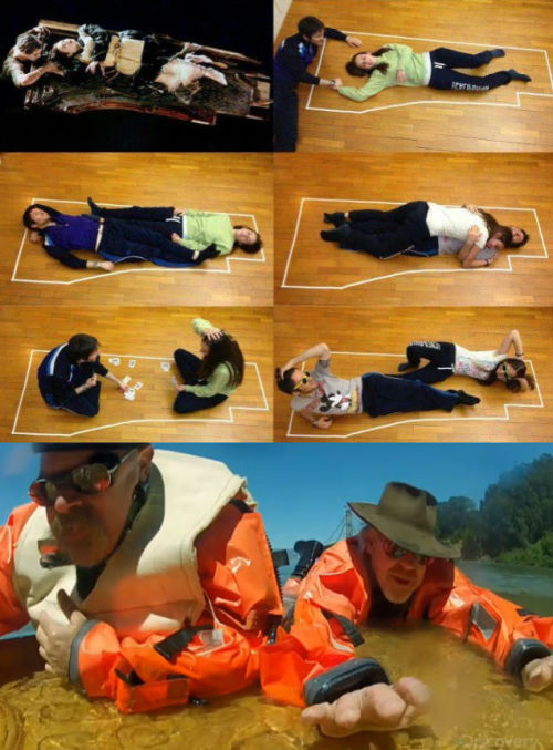 "thedailywhat:  Titanic Door Death Gets MythBusted of the Day: After a series of fan-made images reignited the old ""Jack could have lived"" debate, the MythBusters decided to settle the score. The result? James Cameron was wrong! It's completely plausible that Jack and Rose could have co-existed peacefully on that giant floating door. Watch as Adam and Jamie tell Cameron himself just how much he screwed up. [slashfilm]"