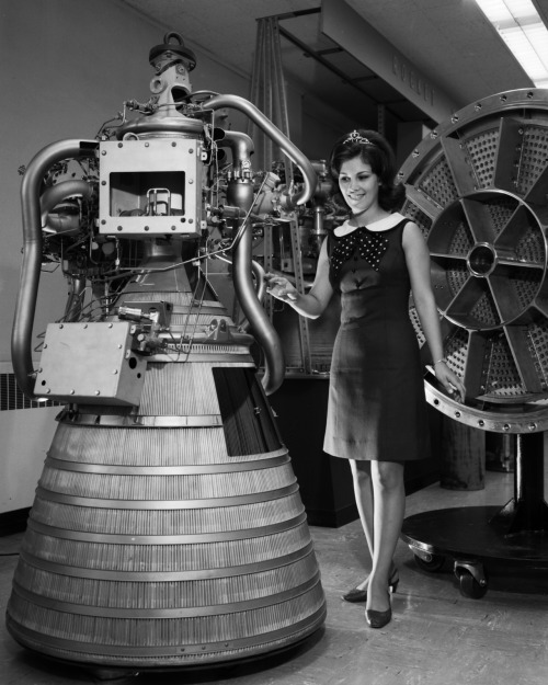 letsdolaunch:  scanzen:  Miss NASA with RL-10 engine display in rocket operations building control room (July 24 1968). Image credit: NASA/Glenn Research Center via archive.org  Miss NASA?!  You took the words out of my mouth.