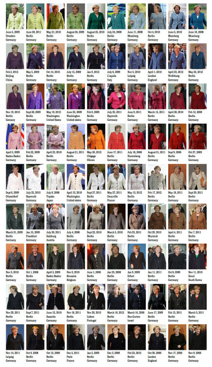 The many colours of Angela Merkel Photograph: Noortje van Eekelen/Spectacle of the Tragedy