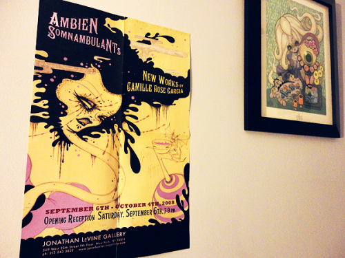 camille rose garcia poster i got from jonathan levine gallery put up next to my framed junko mizuno print.