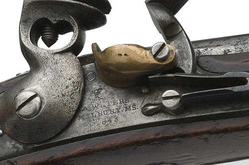 """It is in fact an Asa Waters Model 1836 flintlock pistol, which sold new at a hefty nine dollars.  The last flintlock sold to the US Government, in fact.  .45 caliber, muzzle load.  Based on the kind of naval boarding pistol that you could load with shrapnel, nails and any other thing that was laying around."" -Gun Machine"