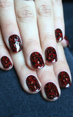 Red leopard print, handpainted. xx ManicMonday juliannemonday.com