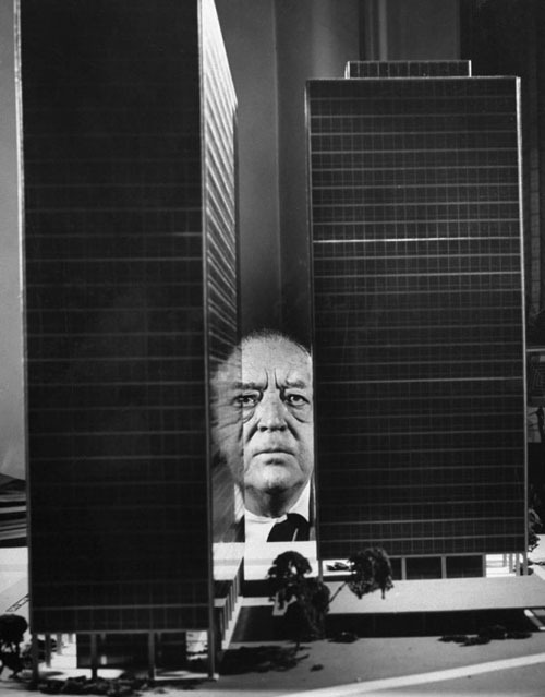 """[Mies] has a cardboard model of Park Avenue between 46th and 57th Streets will all the buildings on the Avenue and some going in the blocks and then he has a number of towers for different solutions that he places in the empty place of the old 375 [the Park Avenue address], and this model is up on a high table so that when sitting in a chair his eye [sic] is just level with the table top which equals the street—and for hours on end he peers down his Park Avenue trying out the different towers."" —from Mies van der Rohe: A Critical Biography, New and Revised Edition by Franz Schulze & Edward Windhorst"