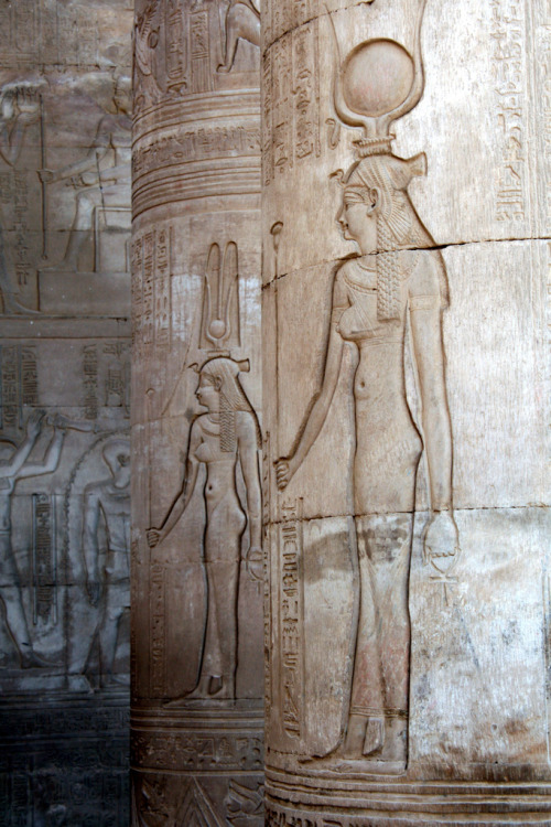 thingswoolike:   Hathor, Kom Ombo, Egypt. (by © Libyan Soup)