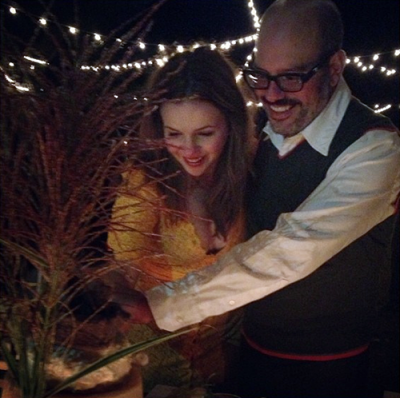 actors David Cross + Amber Tamblyn's  wedding photo…The couple were married Saturday…see more pics here[photographed by The Roots' drummer Questlove]