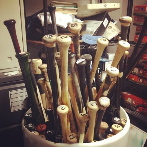 raysbaseball:  Game used bats from the season. #Rays (Taken with Instagram)  I can haz one?!