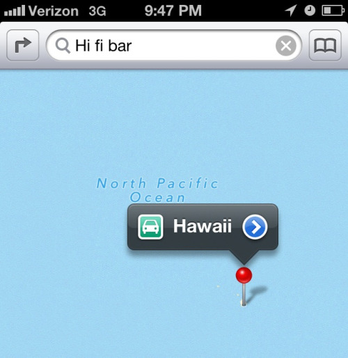 bhbanks:  Thanks Apple Maps, this is EXACTLY what I was looking for.