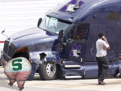 Northwestern Equipment Truck Hits Cow in East Lansing