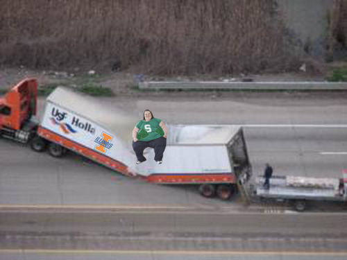 Illinois Equipment Truck Hit By Falling Cow in East Lansing