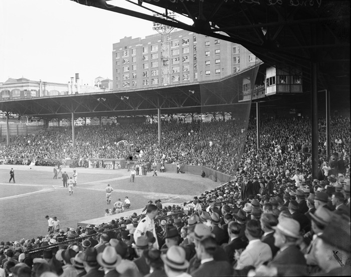 1940s view of a baseball game at Atlanta's Ponce de Leon Park. Browse and order prints from our collection.