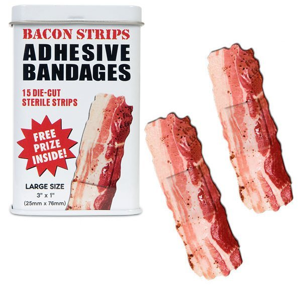 Bacon Bandages Treat your minor cuts, scrapes and scratches with the incredible healing power of a designer bandage. And if a cool bandage isn't enough to dry up your tears, how about a FREE TOY?! Includes a small toy to help make even the ouchiest owies feel all better in no time. Sold on Perpetual Kid.