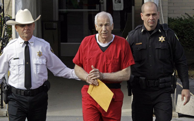 """vicemag:  Sandusky Will Die in Prison, and We Talked to a Pedophilia Expert (Photo via Huffington Post) A judge in Bellefonte, Pennsylvania sentenced Jerry Sandusky to 30 to 60 years behind bars today. """"The crime is not only what you did to their bodies,"""" Judge John Cleland said of the ten boys who the 68-year-old former Penn State assistant football coach sexually molested, """"but to their psyches and their souls, and the assault to the wellbeing of the larger community in which we all live."""" Truly, the Sandusky case has exposed just how fixated, morally disgusted, and yet befuddled we are by pedophilia as a society. Horace Mann, the Catholic Church, the Boy Scouts, now Sandusky… it keeps coming up. But what&rsq"""