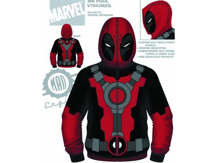 populationgo:  Deadpool Costume Fleece Hoodie Big Bad Toy Store is currently taking pre-orders for a Deadpool Hoodie. It's not going to make you a crazy mercenary but it'll at least make you feel like one. Made by Mad Engine, the hoodie will cost about $69.99 and is scheduled to be available by the end of this year. [Big Bad Toy Store]