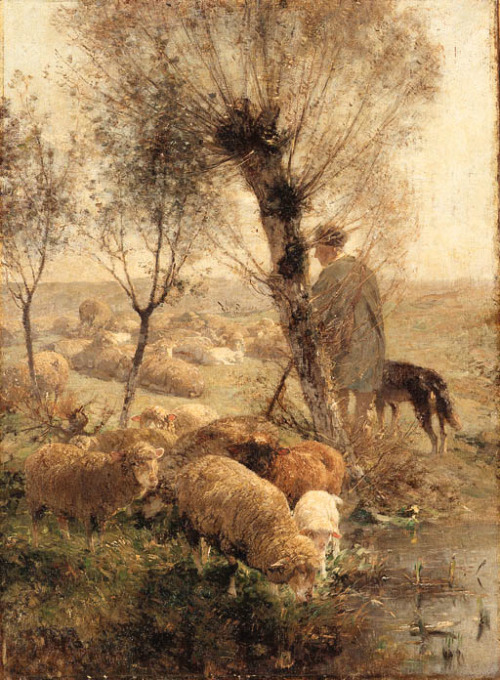 poboh: Heinrich Johann Zugel (German, 1850-1941) ~ A Shepherd Tending His Flock