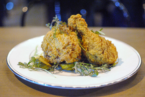 fried chicken with brussels sprouts & date vinaigrette photo by Darin Dines